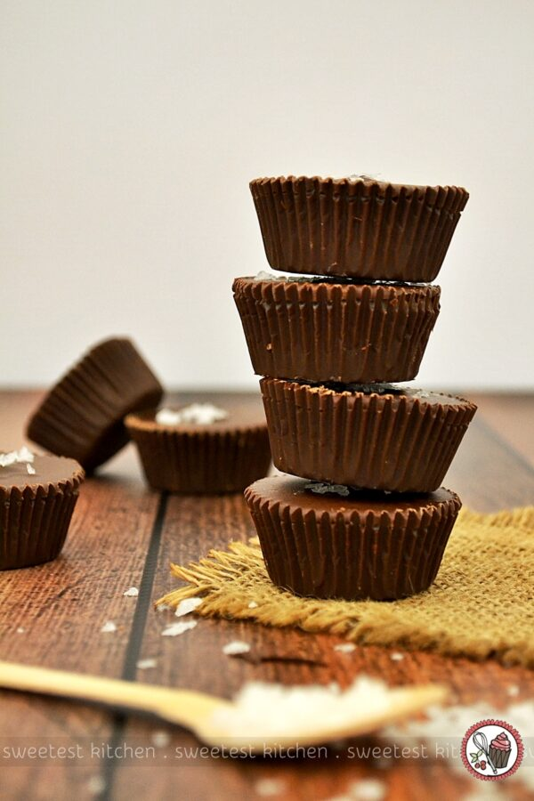Chocolate Peanut Butter Cups with Salted Bourbon Caramel - sweetest ...